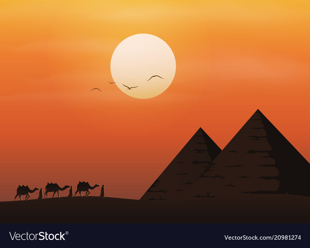 Caravan with camels in desert with pyramids