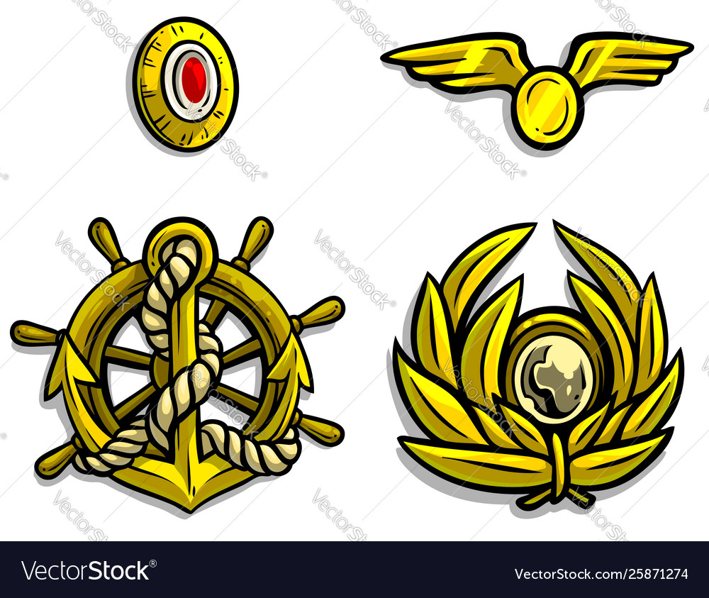 Cartoon golden army badges for peaked caps