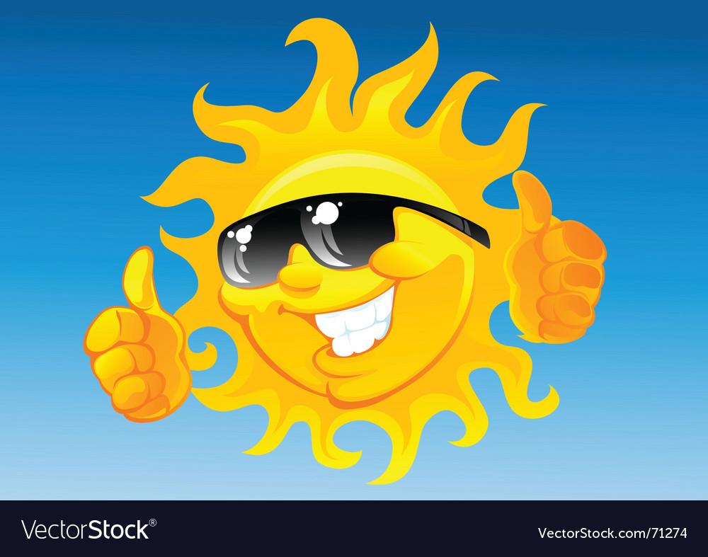 Cartoon sun in sunglasses vector image