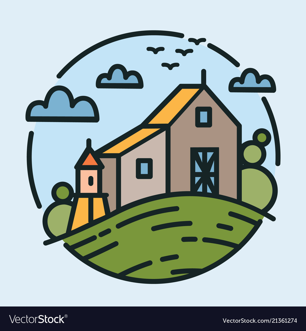 Colorful logotype with beautiful rural scenery and
