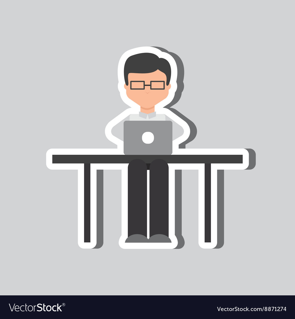 Computer user design vector image
