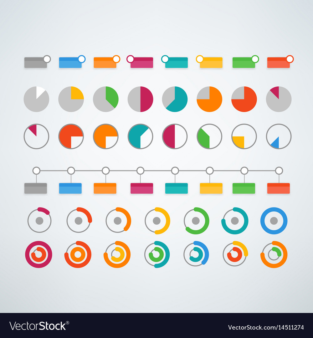 Different color infographic elements clipart