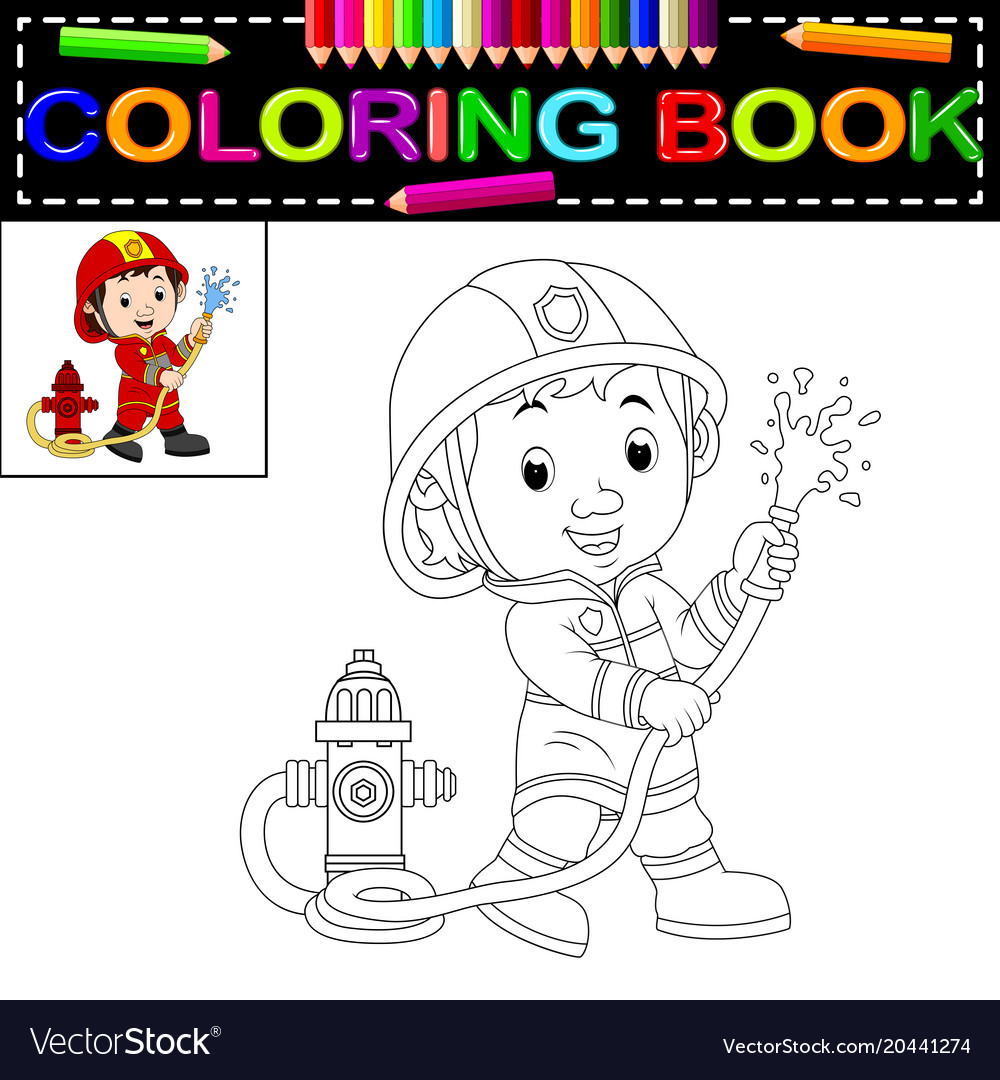 Firefighter coloring book Royalty Free Vector Image