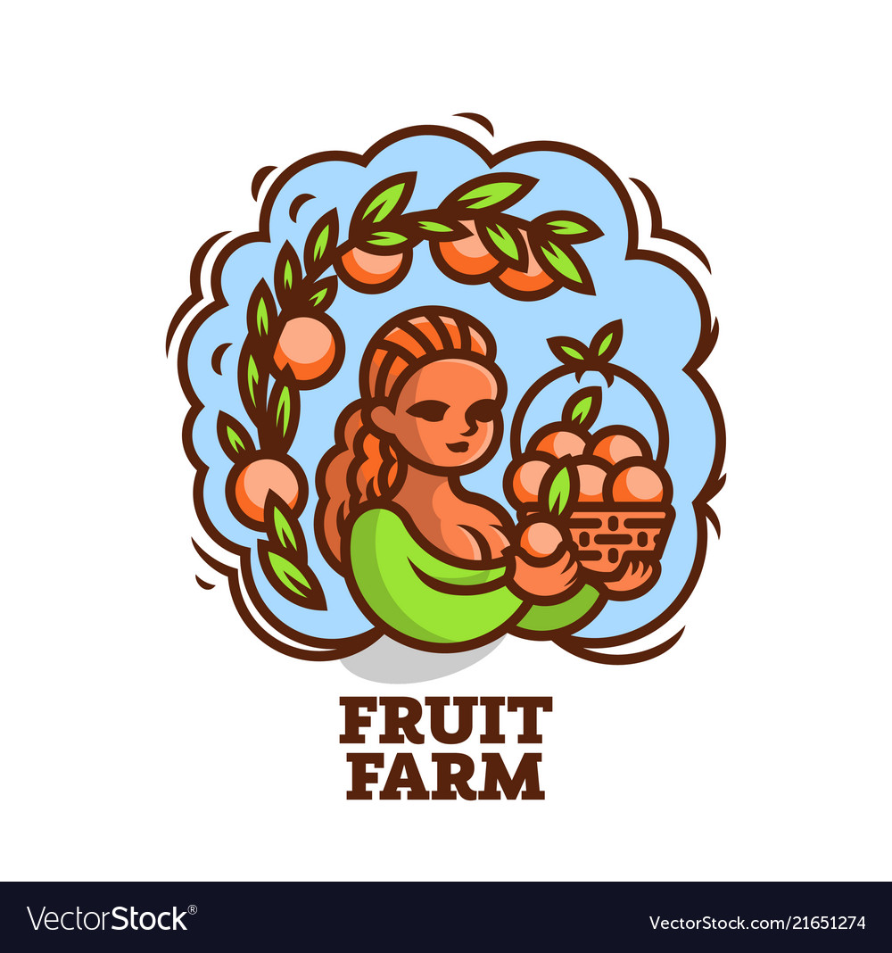 Girl farmer with a basket of fruit