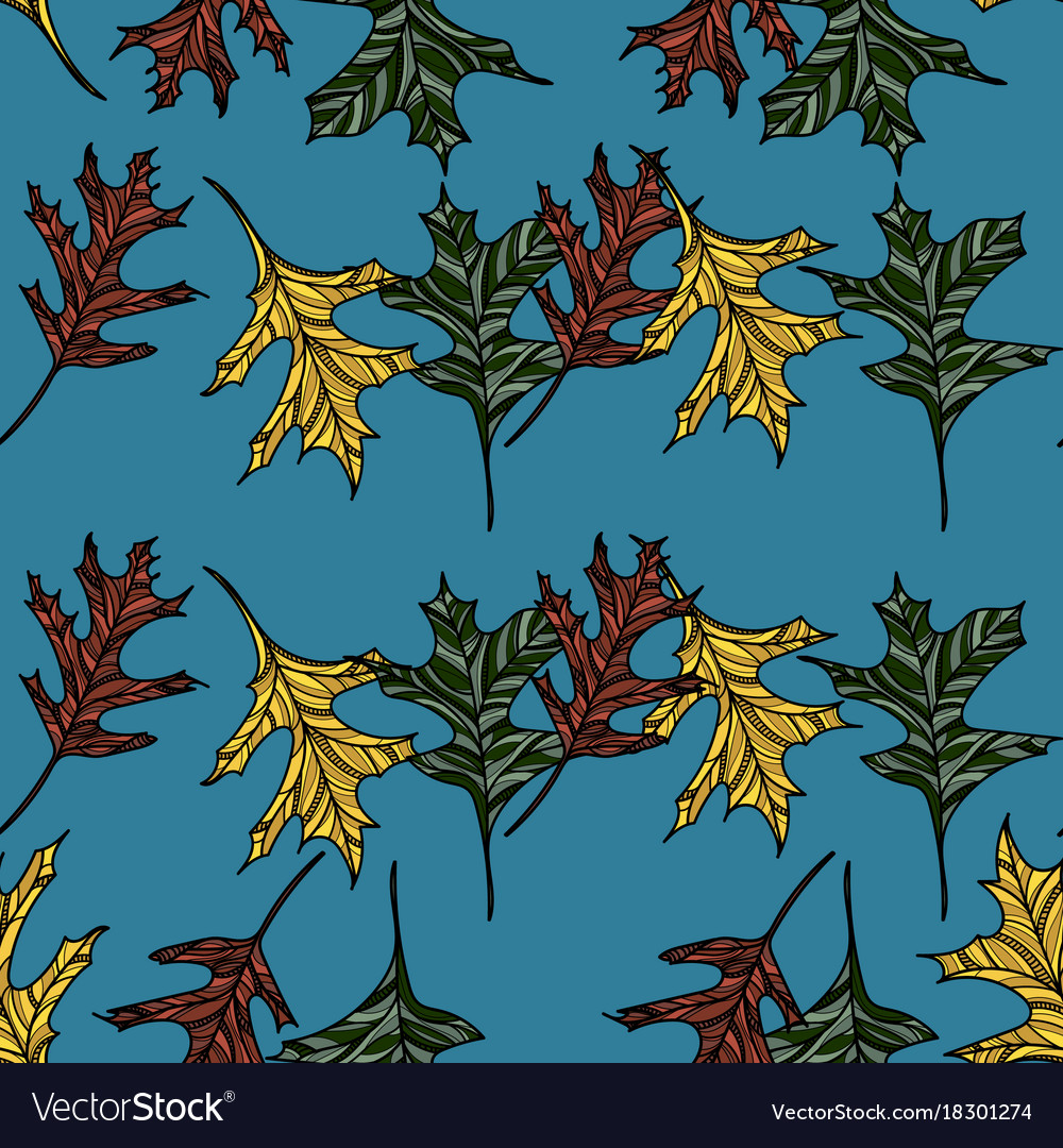 Hand drawn seamless pattern with oak leaves