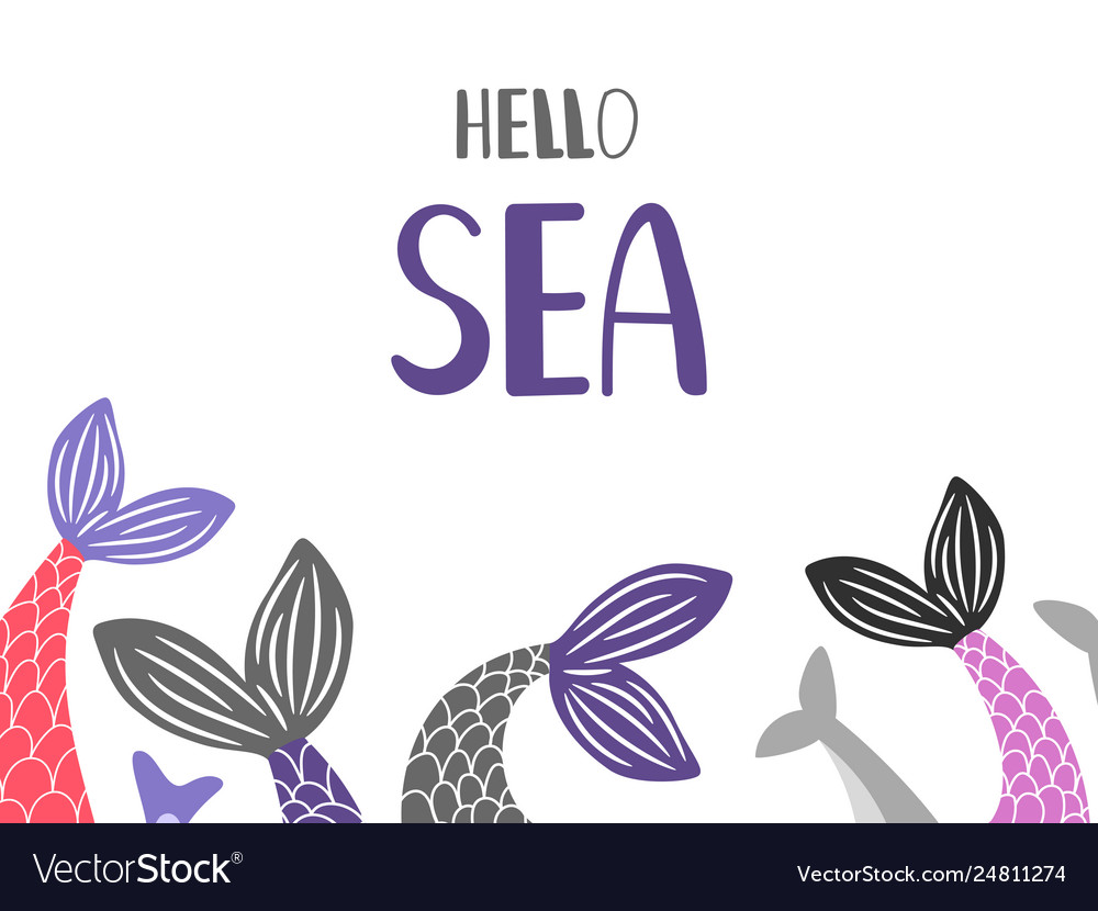 Hello sea background with mermaid and fish tails