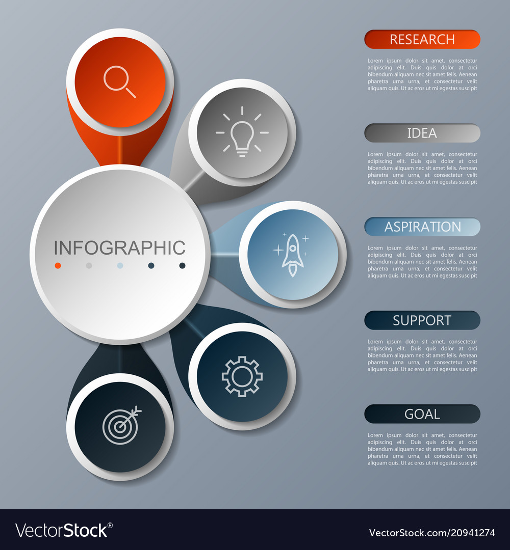 Infographics circle design with 5 options
