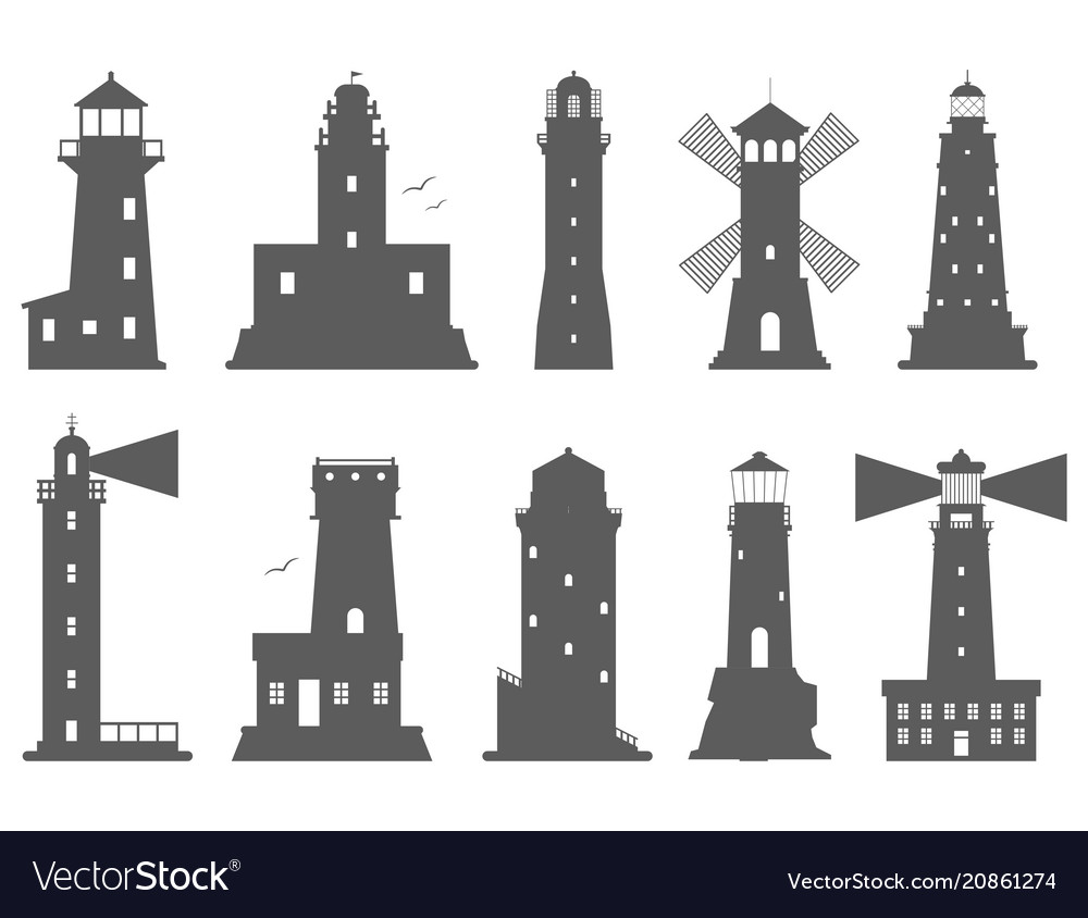 Lighthouses silhouette flat searchlight