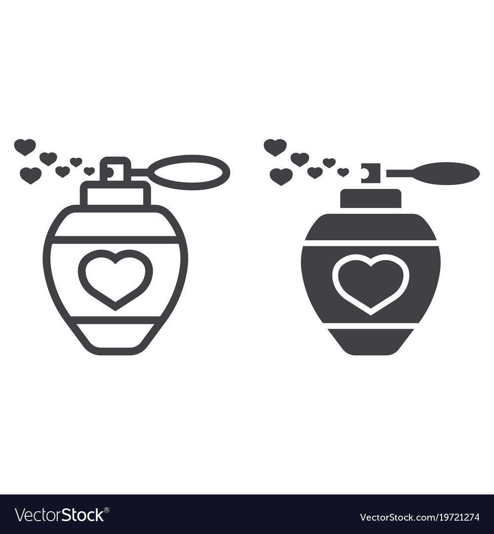 Love perfume with hearts line and glyph icon