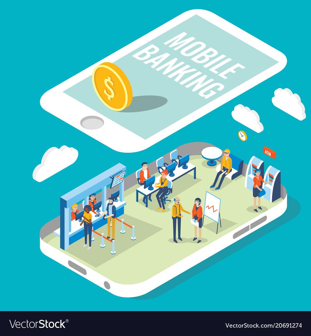 Mobile banking flat isometric