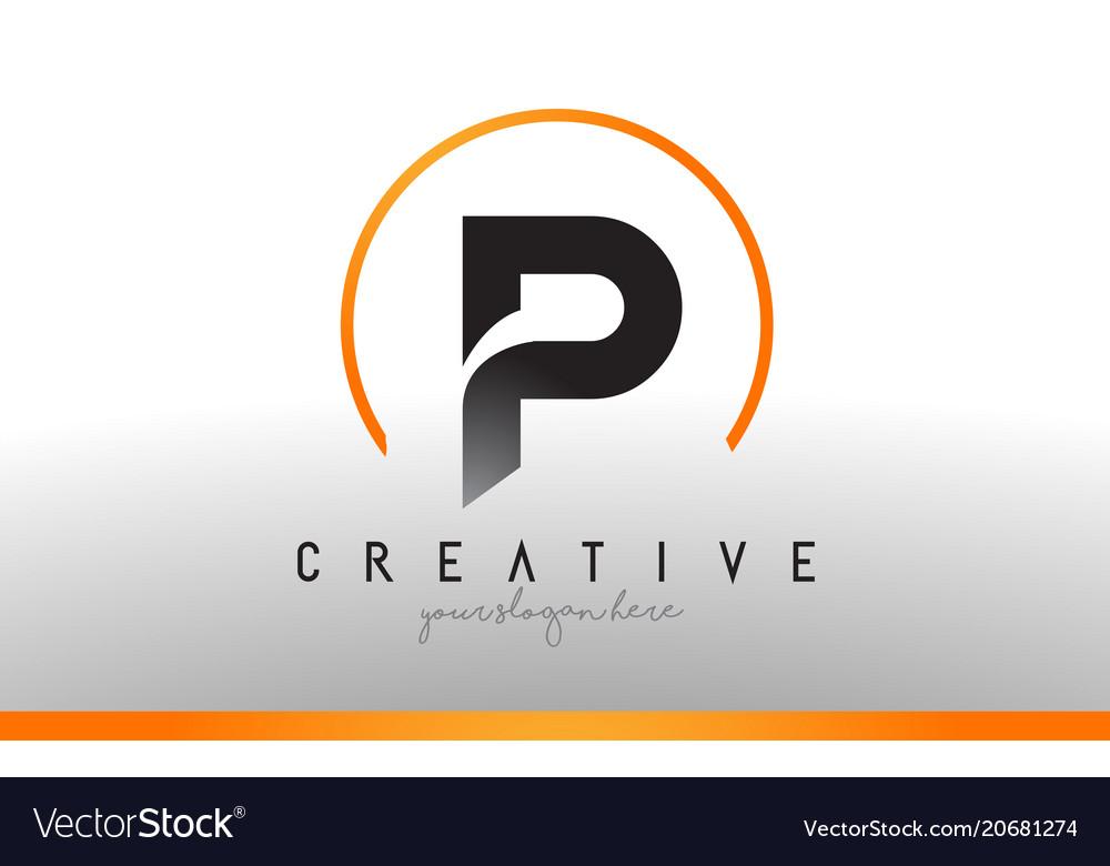 P letter logo design with black orange color cool Vector Image