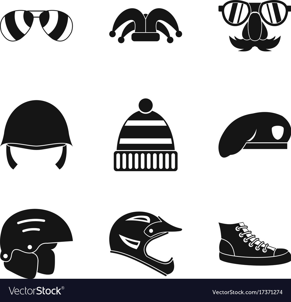 Protection hats icon set simple style Royalty Free Vector 4fc142961ef6