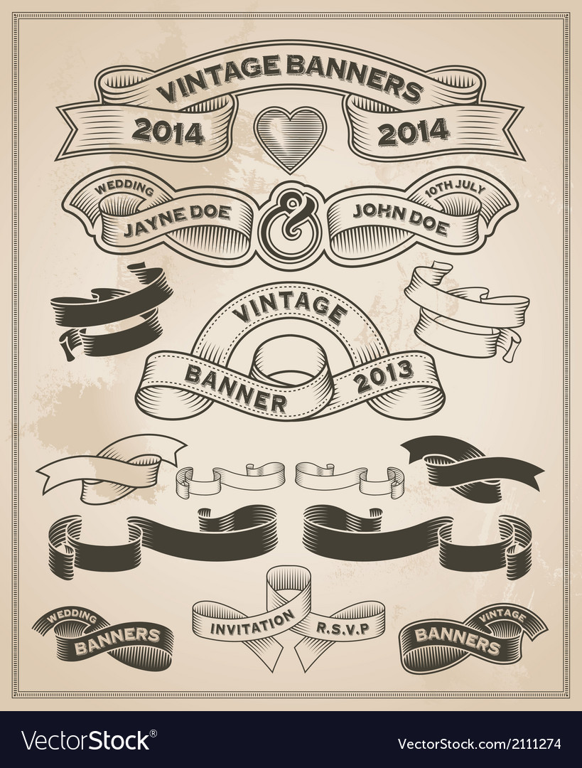 Retro vintage scroll and banner set vector image