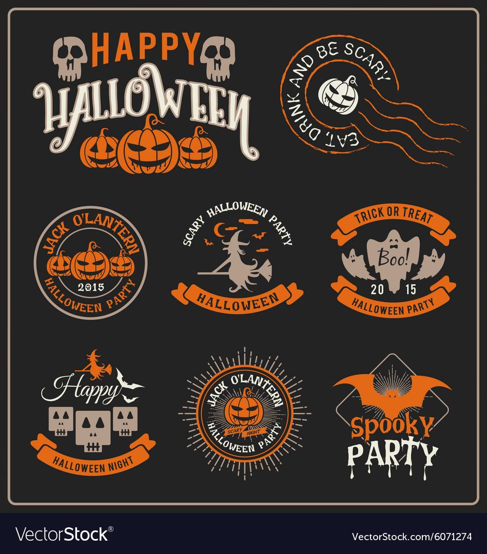 Set halloween badge label and frames design
