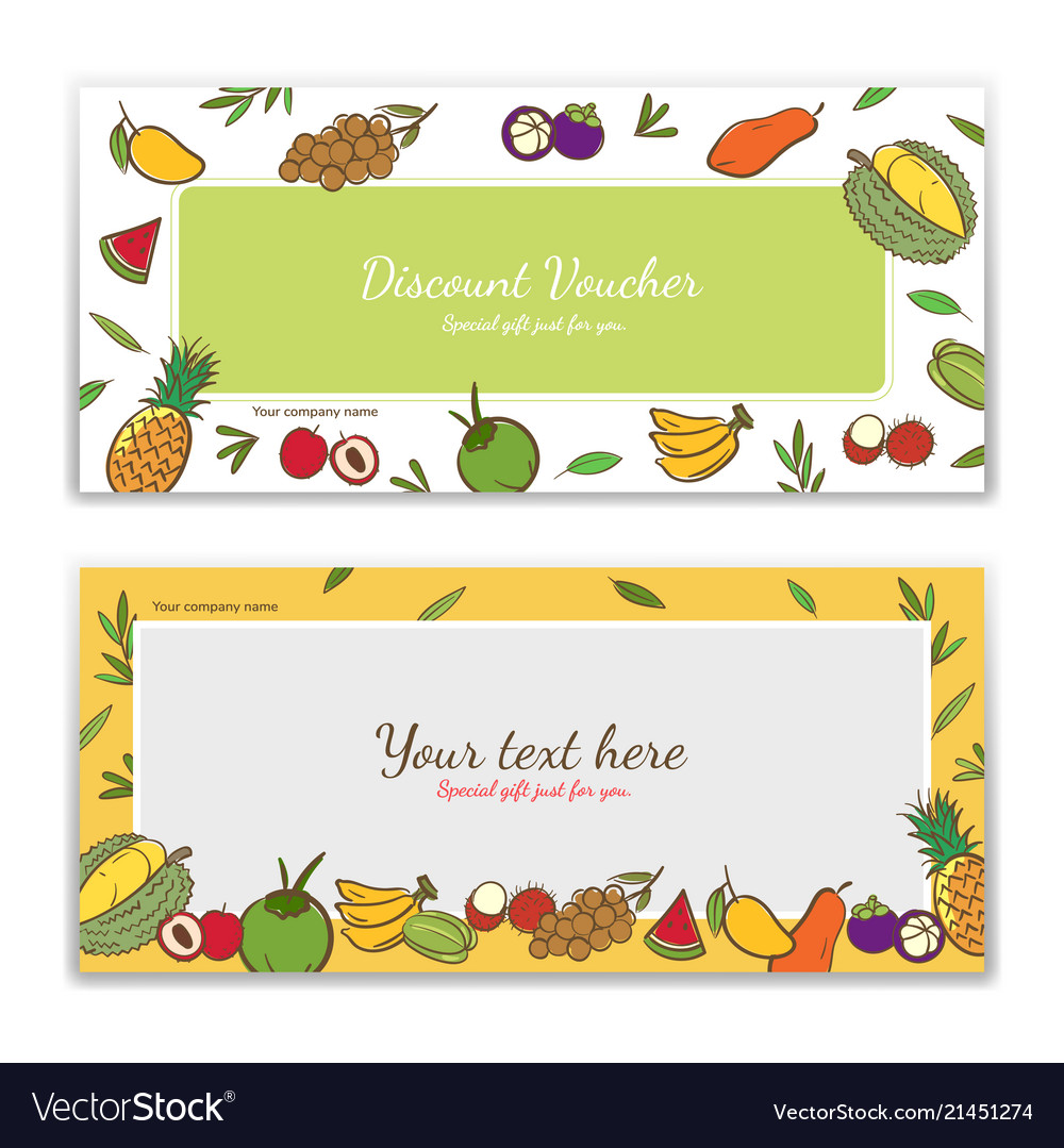 Tropical fruits theme gift certificate voucher