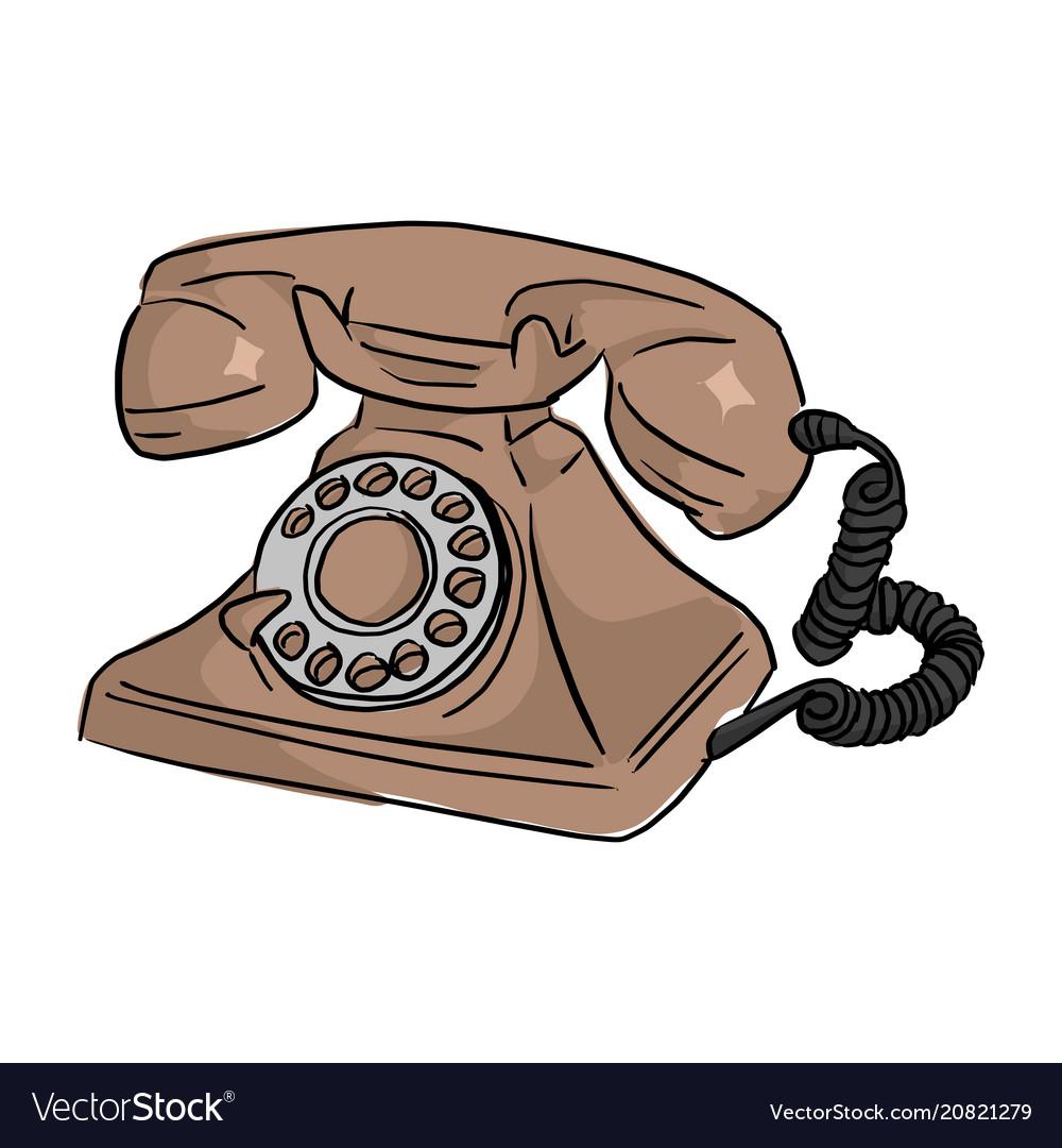 Brown retro telephone sketch doodle