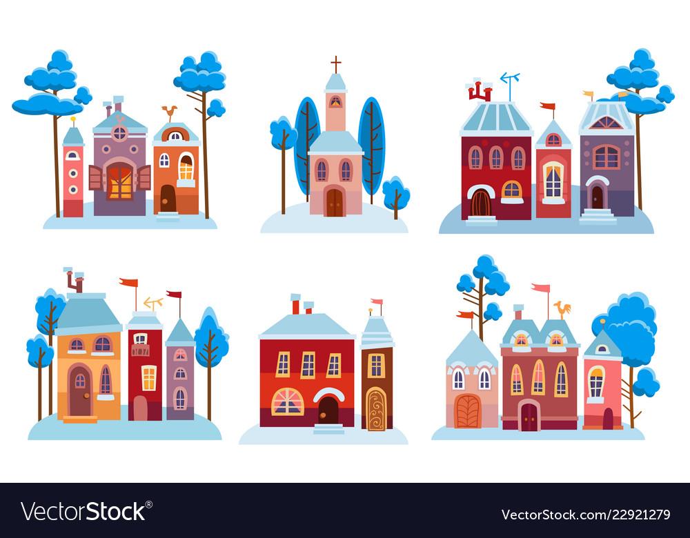Cartoon christmas houses set snow winter city