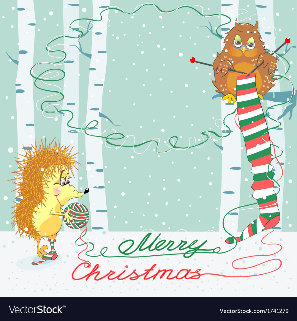 Christmas card with an owl and hedgehog