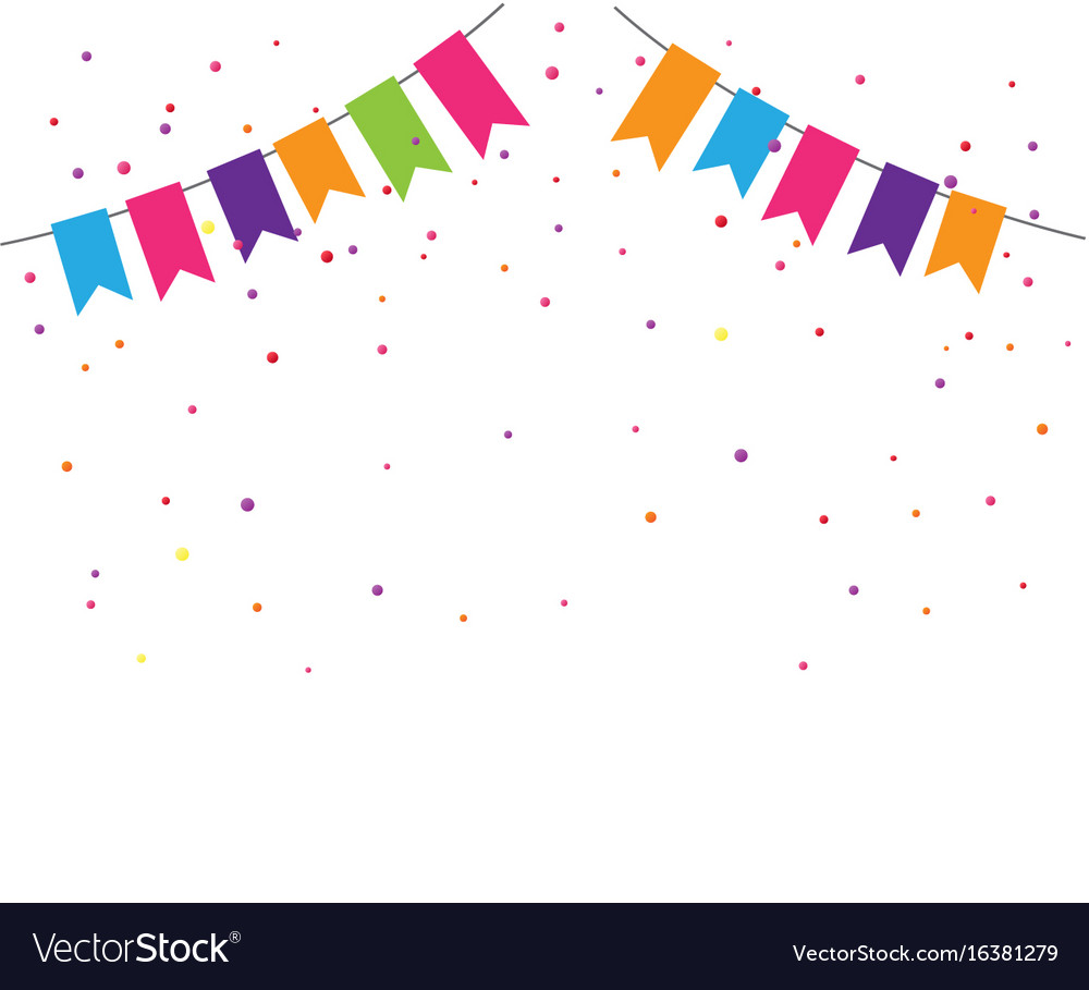 colorful confetti background with bunting flags vector image