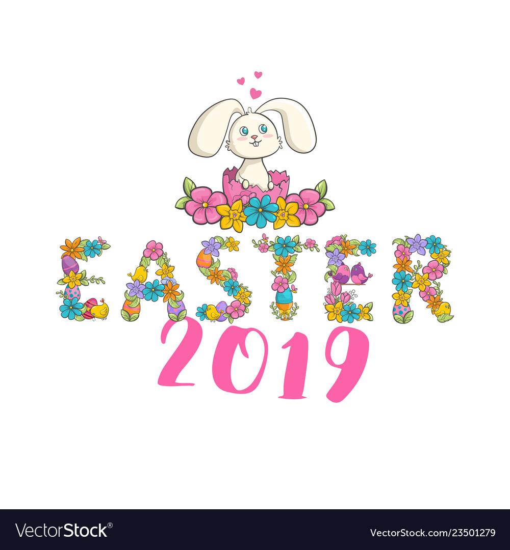 Easter christian church festival card with cute