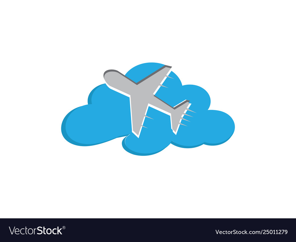 Flying plane in sky across clouds
