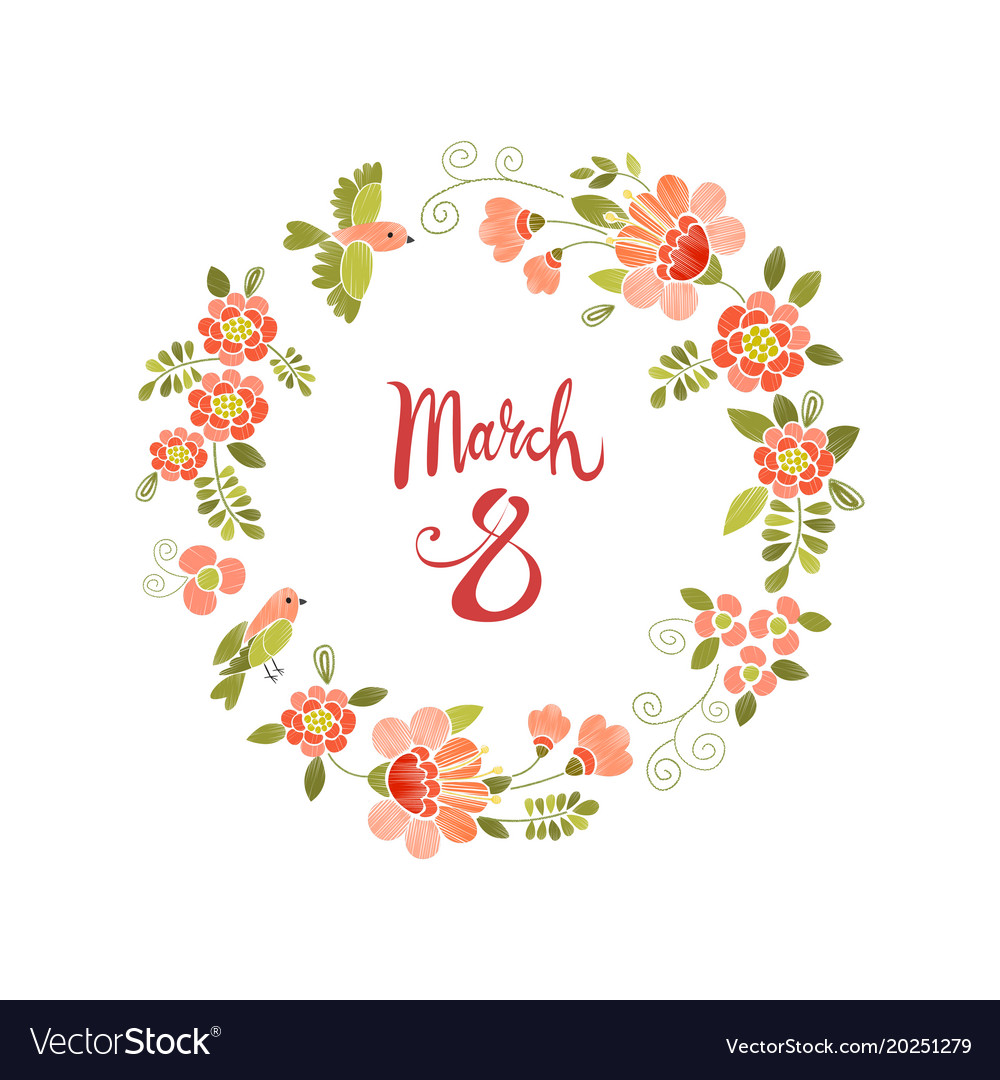March 8 womens day greeting card vector image
