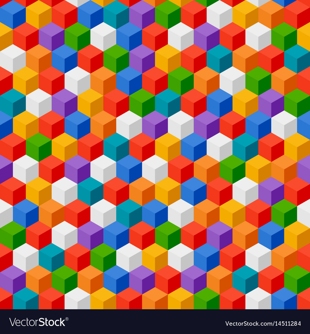 Abstract background of color cubes seamless