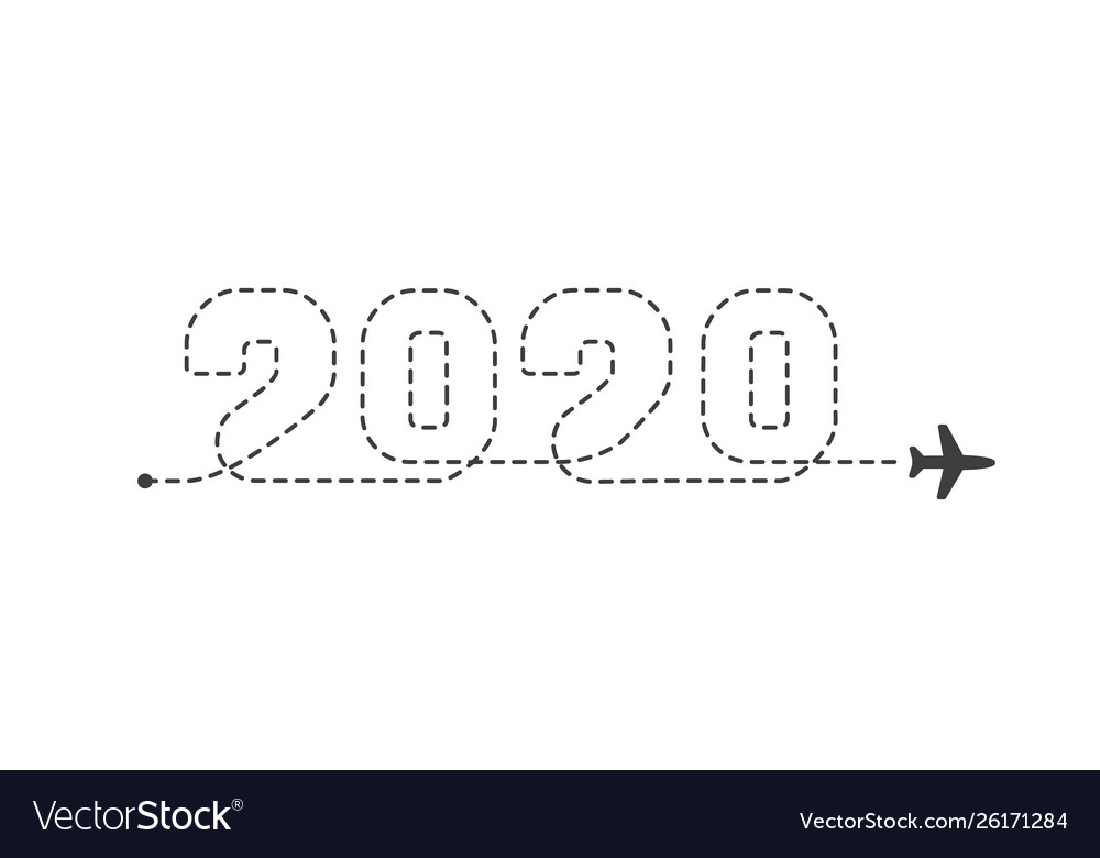 Airplane 2020 dotted trace plane route lines