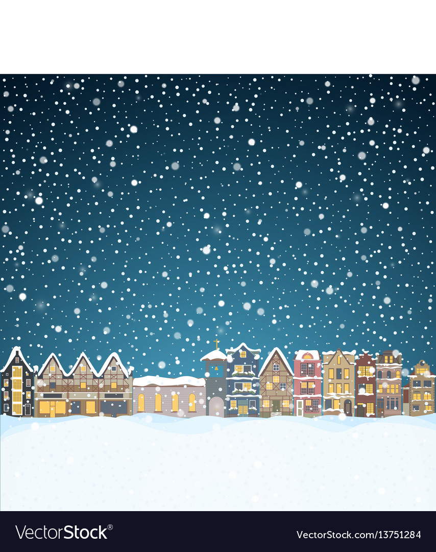 Christmas house in snowfall at the night happy