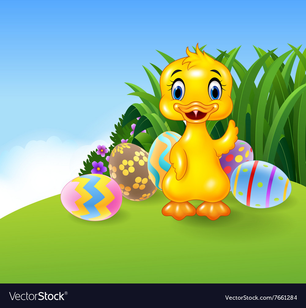 Cute little duck with colourful Easter eggs vector image