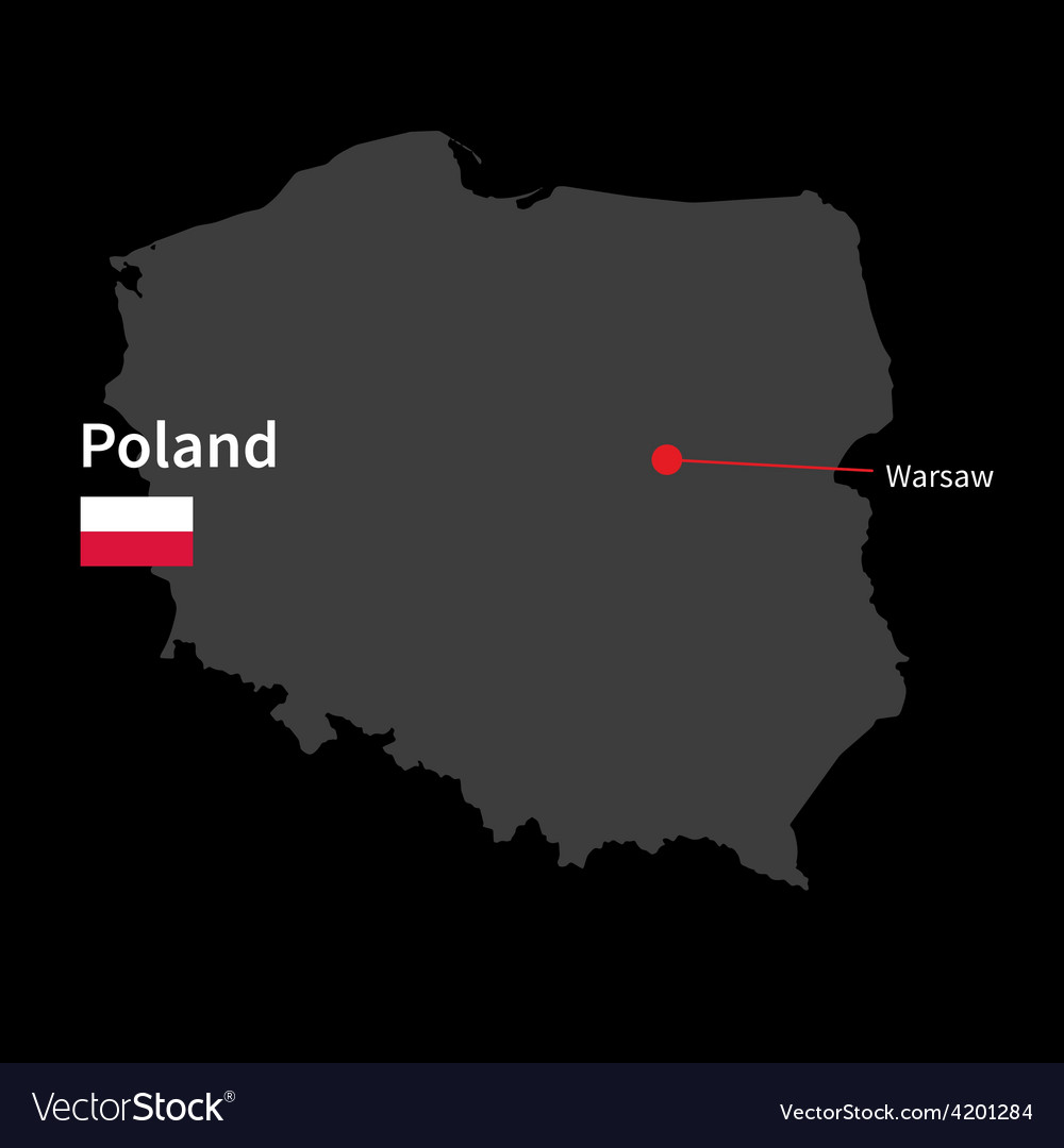 Capital Of Poland Map.Detailed Map Of Poland And Capital City Warsaw Vector Image