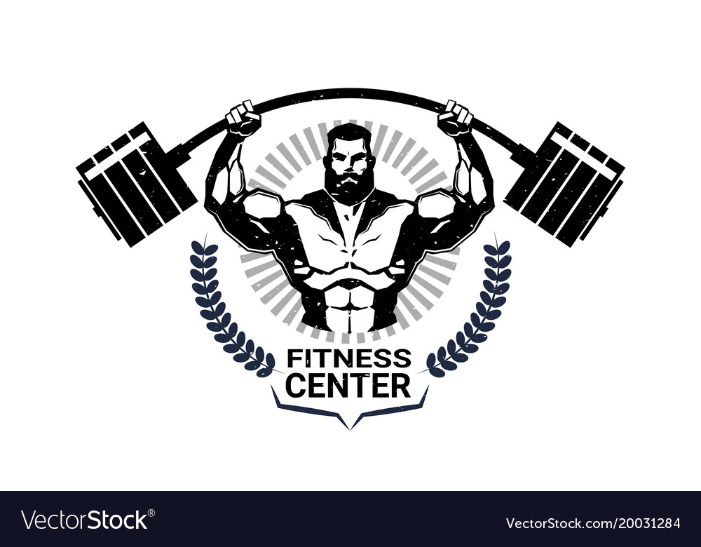 Fitness center emblem with athletic man