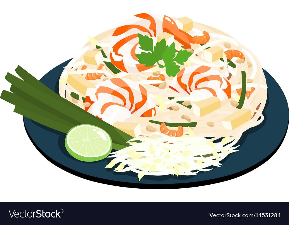 Fried noodles popular thai food vector image