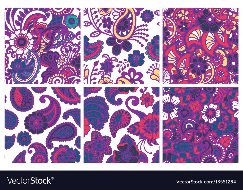 Paisley seamless colorful patterns