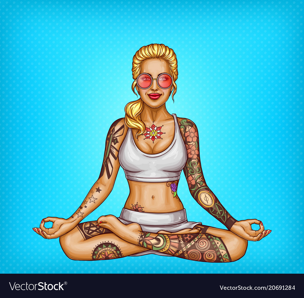 Pop art tattooed girl doing yoga