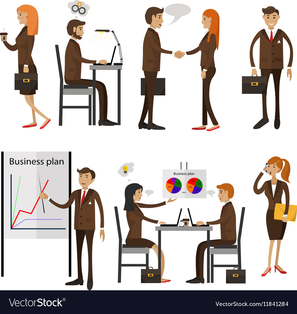 Set of office people characters isolated on