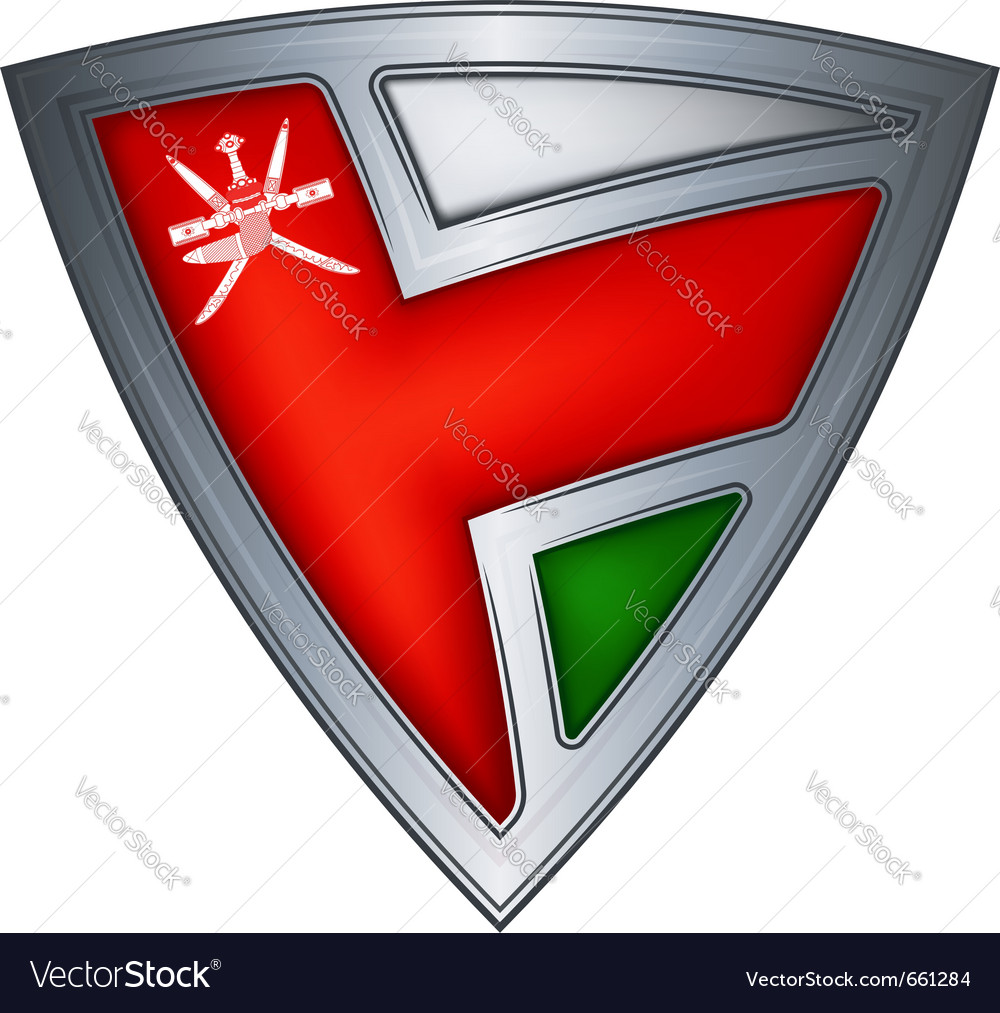 Steel shield with flag oman vector image