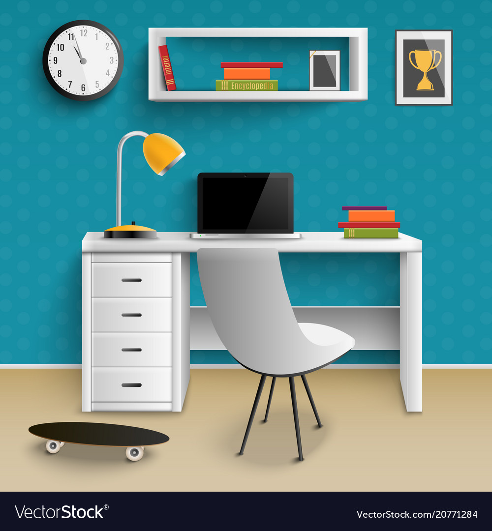 Teenager workplace interior realistic vector image