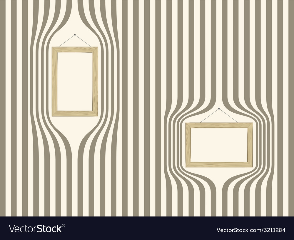 Wooden frame on striped wallpaper Royalty Free Vector Image