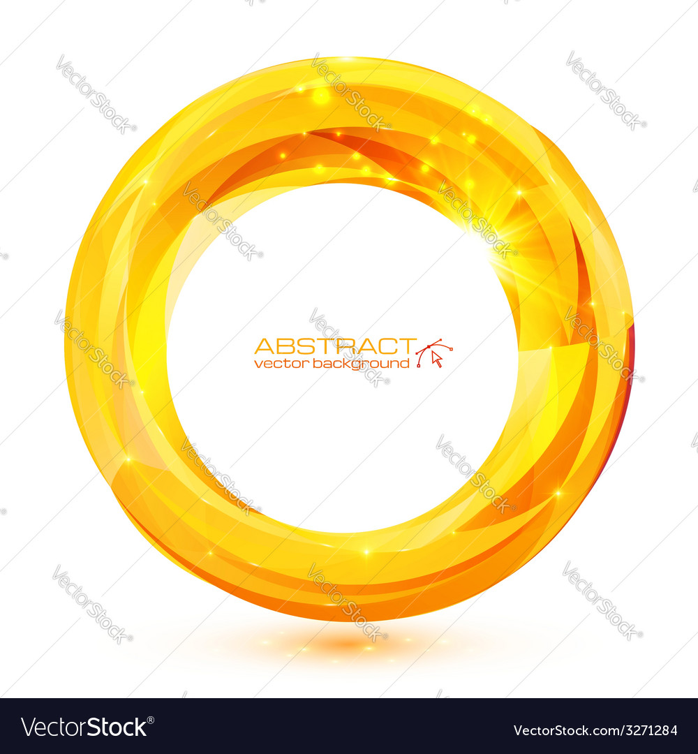 Yellow crystal abstract round frame
