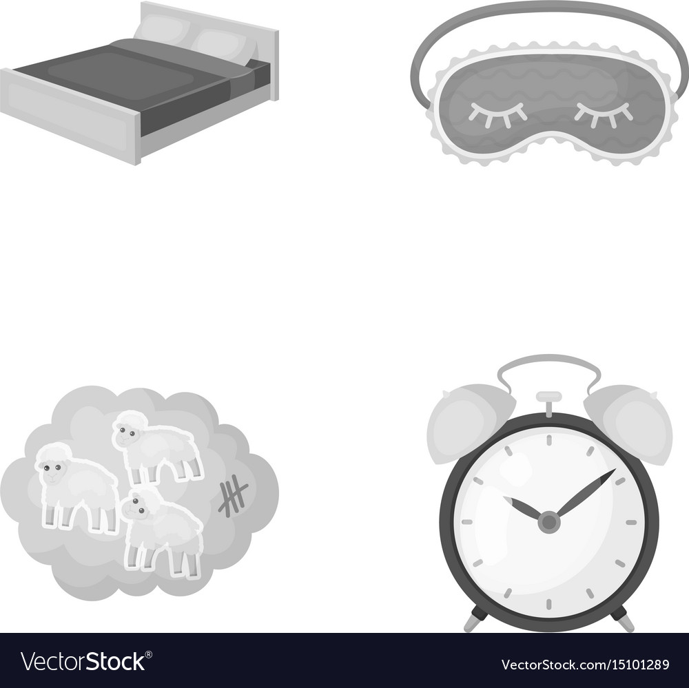 A bed a blindfold counting rams an alarm clock