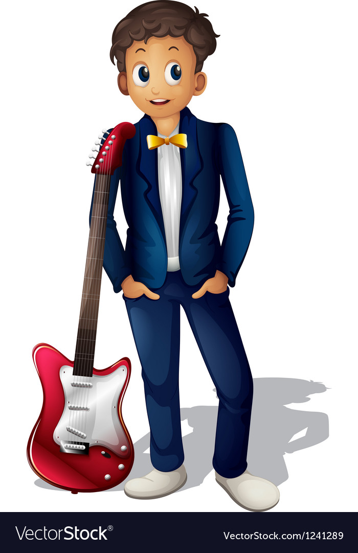 A musician with a red guitar vector image