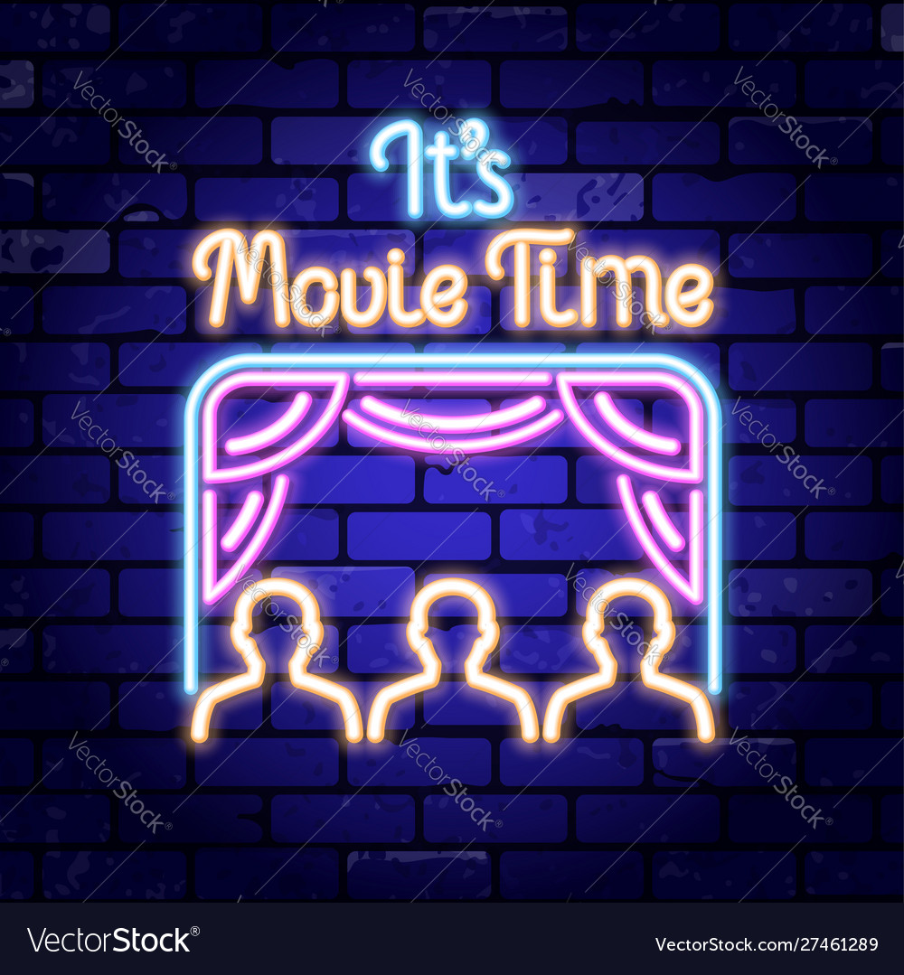 Cinema and movie time neon signboard