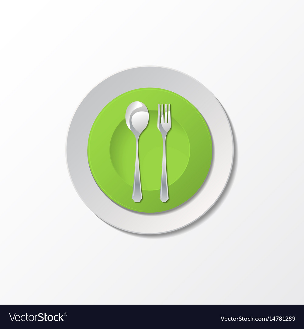 Cutlery with green plate