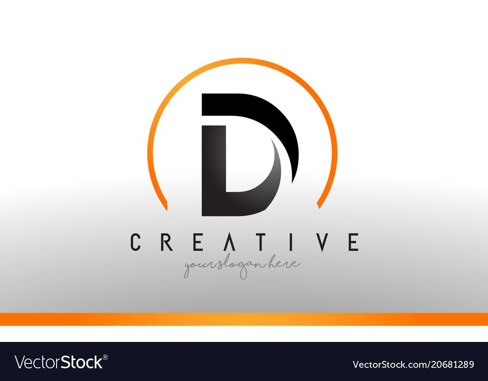 Cool Letter I Logo.D Letter Logo Design With Black Orange Color Cool
