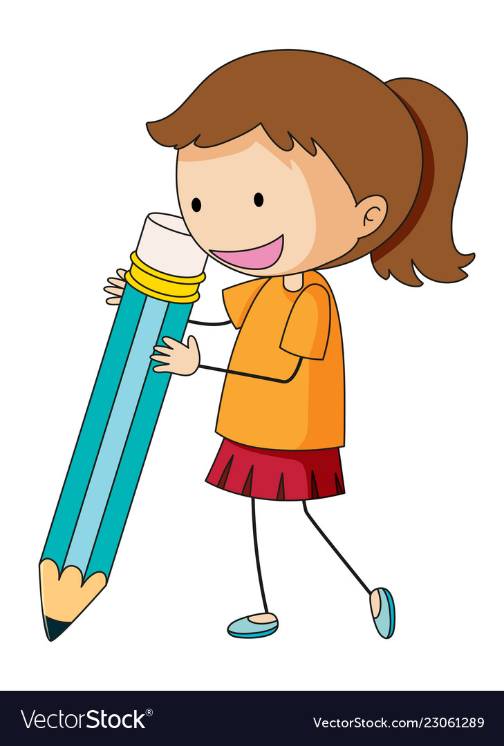 Doodle girl holding pencil