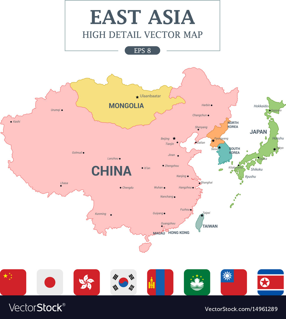 East asia map separated all countries
