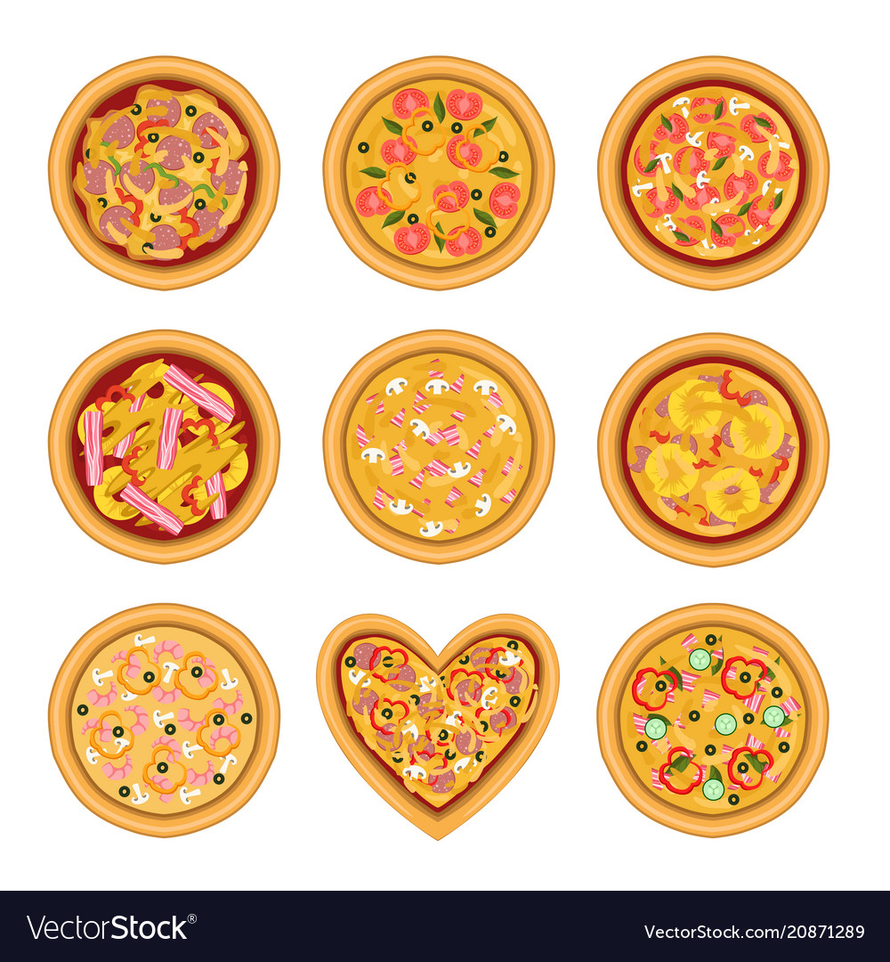 Flat set of tasty pizza with different