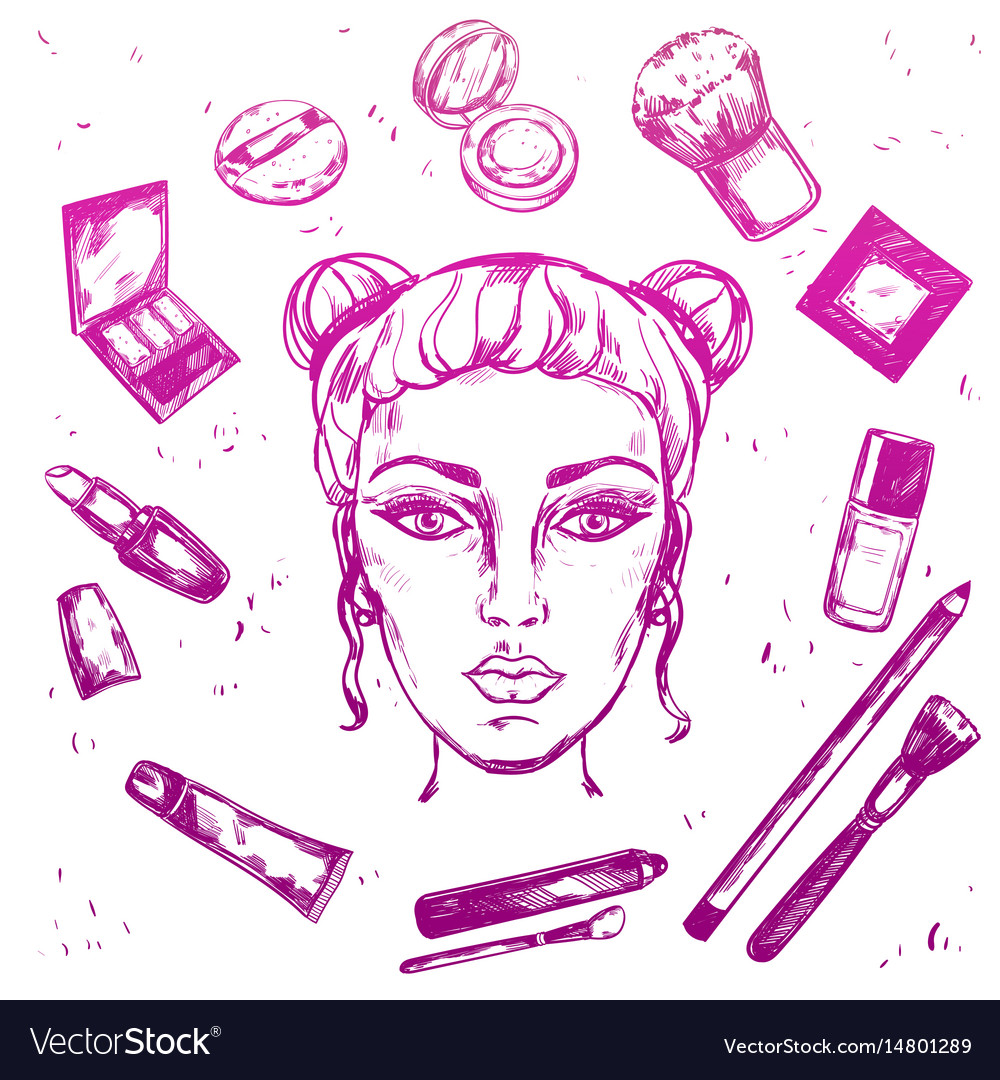 Hand drawn make up composition vector image