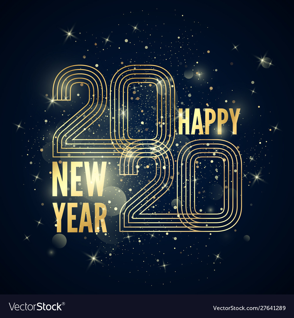 Happy new year poster colorful golden gradient